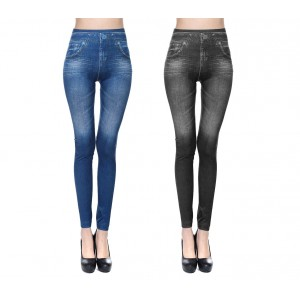Leggings effetto denim modello basic slim modellante in due varianti J0176