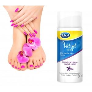 Dr. Scholl Velvet soft siero idratazione intensa benessere per i piedi con acido ialuronico e caviale verde confezione da 30ml