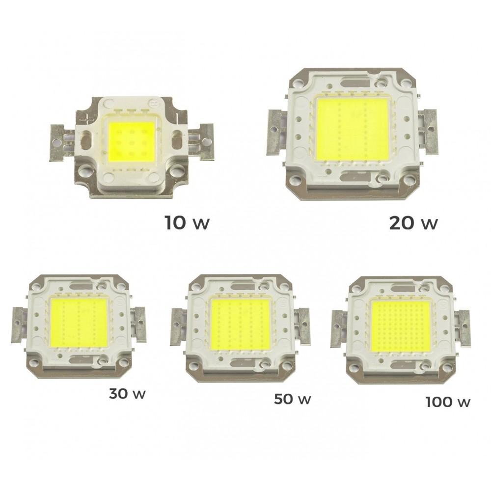 Piastrina Led di ricambio fari led luce FREDDA 6500 k da 10-20-30-50 o 100 watt placca chip