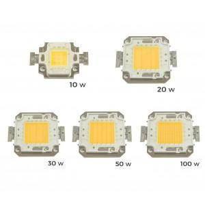 Piastrina Led di ricambio fari led luce CALDA 3000 k da 10-20-30-50 o 100 watt placca chip