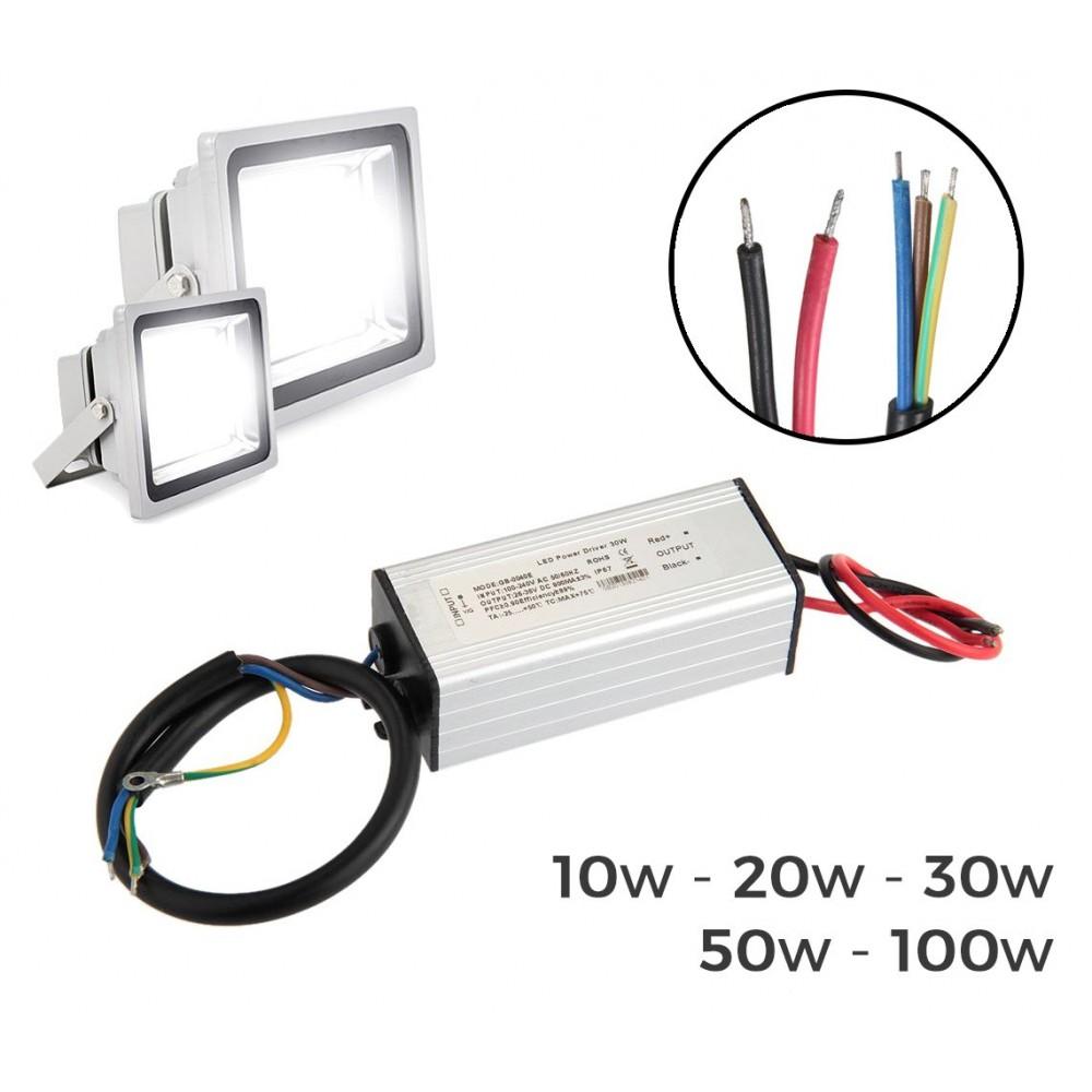 Alimentatore led driver ricambio per fari a led trasformatore 10-20-30-50 o 100 Watt