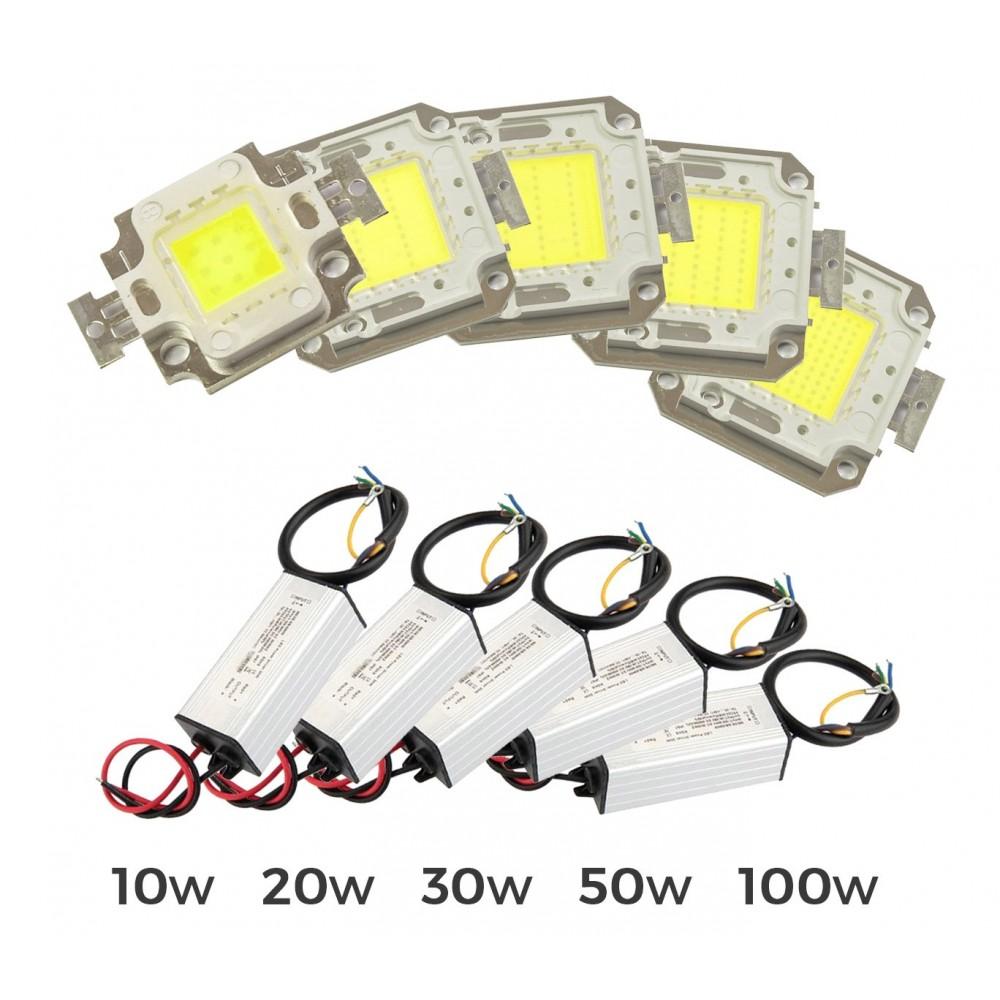 Kit piastra Led + led driver alimentatore fari led luce fredda 6500 k da 10-20-30-50-100 watt