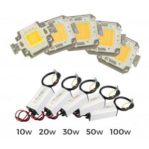 Image of Kit piastra Led + led driver alimentatore fari led luce calda 3000 k da 10-20-30-50-100 watt %EAN%
