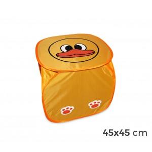 Cubo portagiochi pieghevole con stampa animaletti impermeabile sistema pop up 45 x 45cm
