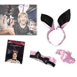 Kit da coniglietta rosa e nero in raso set 4 accessori per eventi e serate speciali