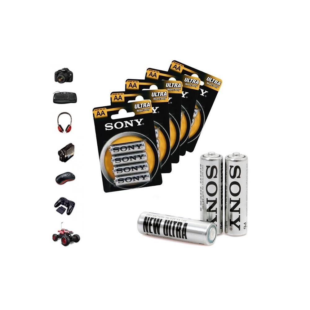 Pack da 32 - 52 - 76 o 100 stilo Sony New Ultra formato AA R6 1.5V Zinco Carbone