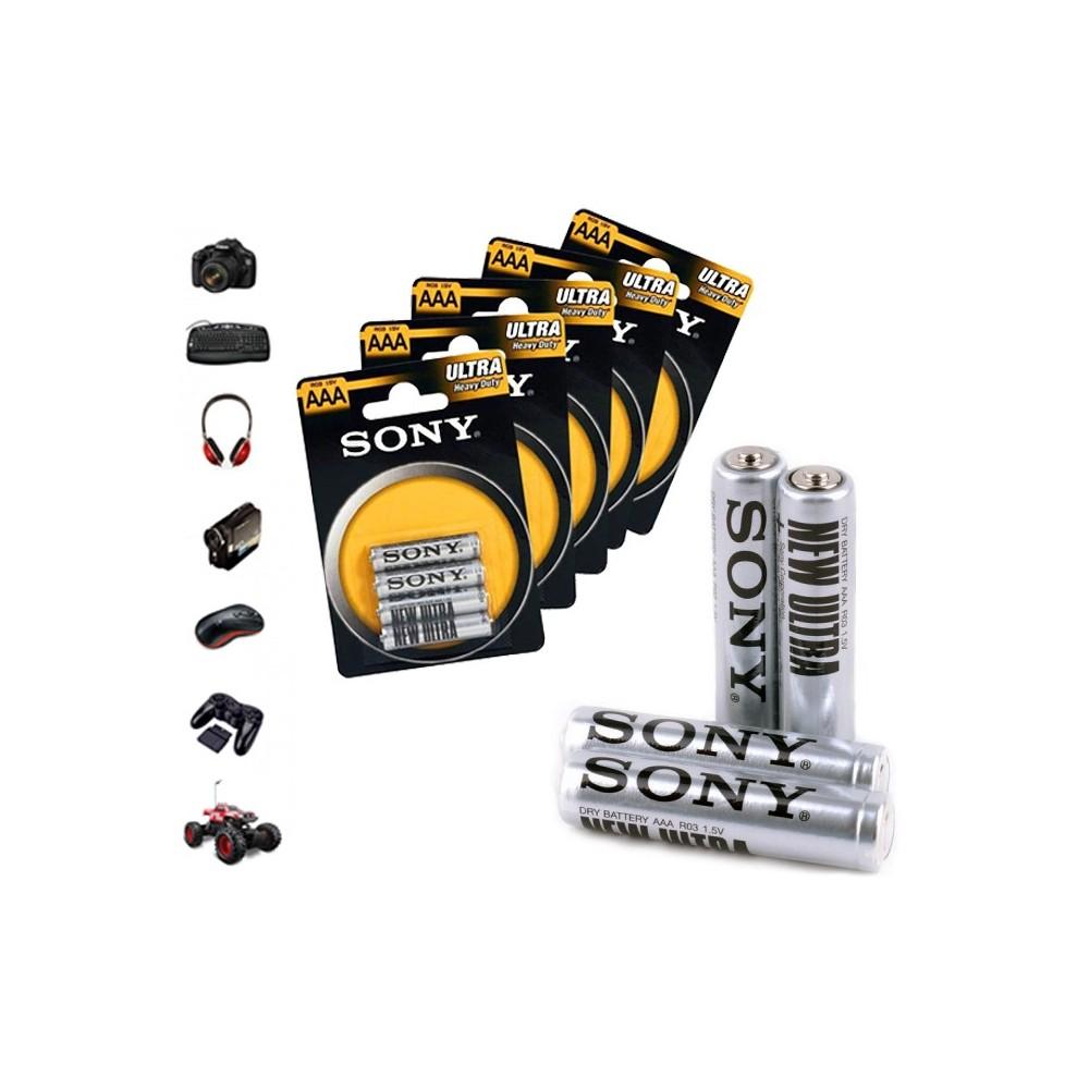 Pack da 32 - 52 - 76 o 100 mini stilo Sony New Ultra AAA R03 1.5V Zinco Carbone