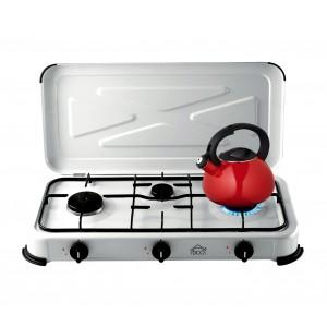 DCG EKP2423 Fornellino a gas gpl a 3 fuochi leggero e portatile con coperchio e accensione manuale