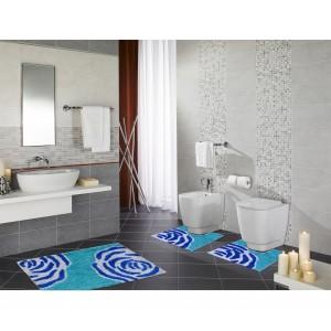 103-Set in coordinato di 3 pz tappetini per il bagno FLOW arredamento bagno