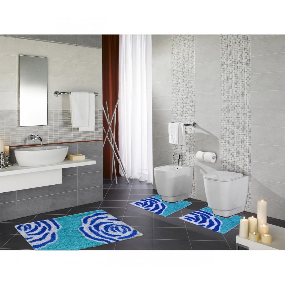 Rosa MEDIA WAVE store Set in coordinato di 3 pz tappetini per il bagno con motivi floreali.