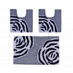 Image of 2624 Set in coordinato di 3 pz tappetini per il bagno FLOW arredamento bagno 8001830392916