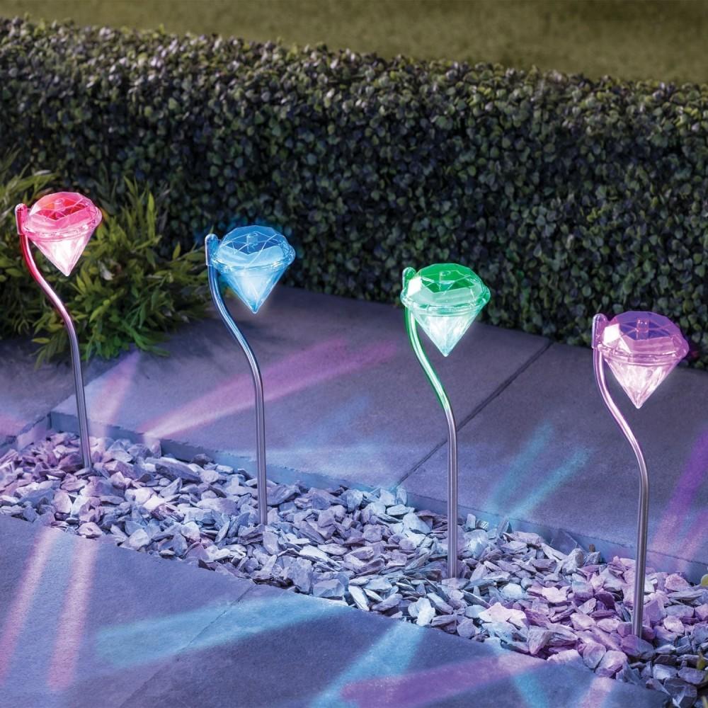 Lampada led rgb energia solare a forma di diamante segnapasso