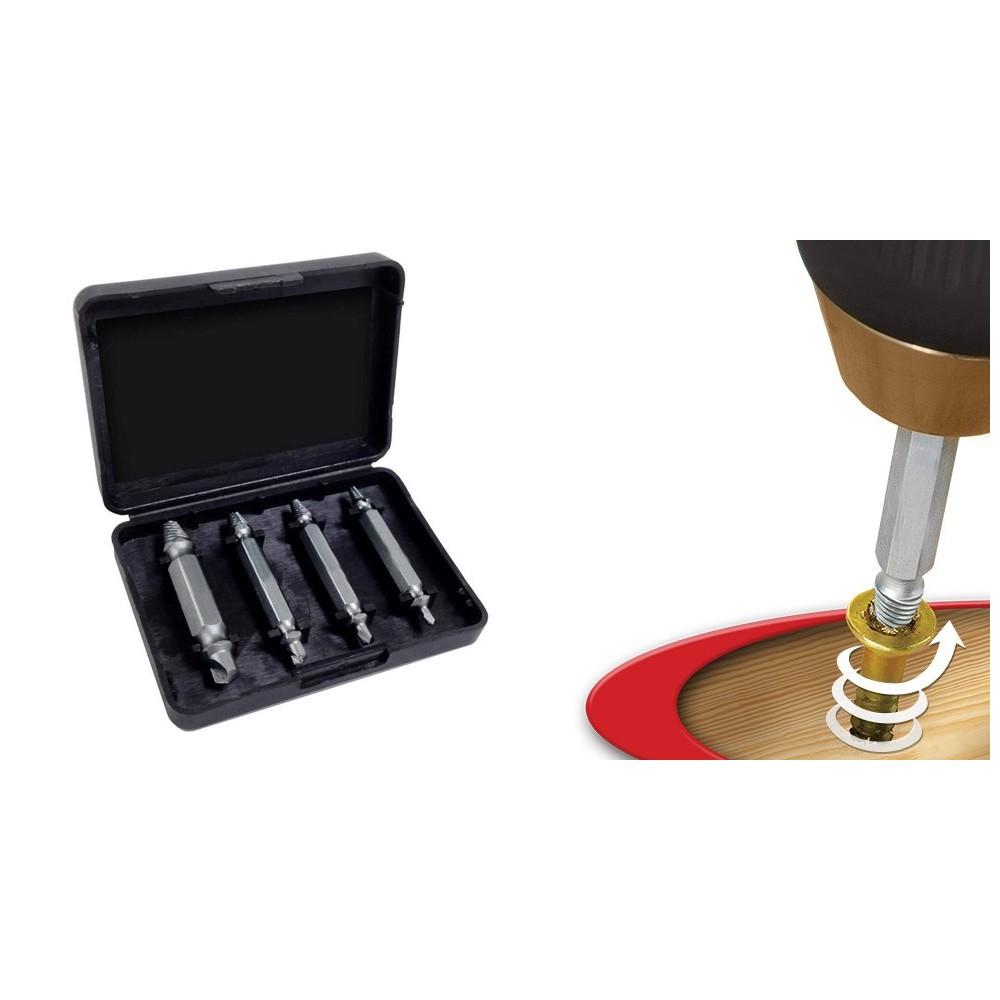 Kit 4 estrattori in acciaio per viti bulloni danneggiati per qualsiasi trapano