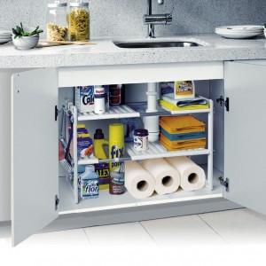 Scaffarle a 2 piani organizzatore modulare estesibile sotto lavello e mobili