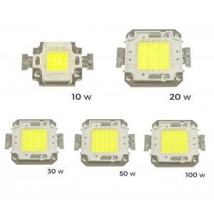 2 Piastrine Led di ricambio fari led luce FREDDA 6500 k da 10-20-30-50 o 100 watt placca chip