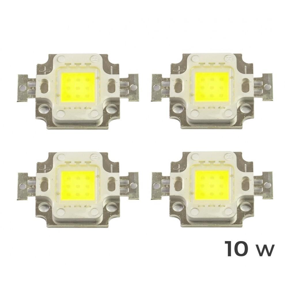 4 Piastrine Led di ricambio fari led luce FREDDA 6500 k da 10-20-30-50 o 100 watt placca chip