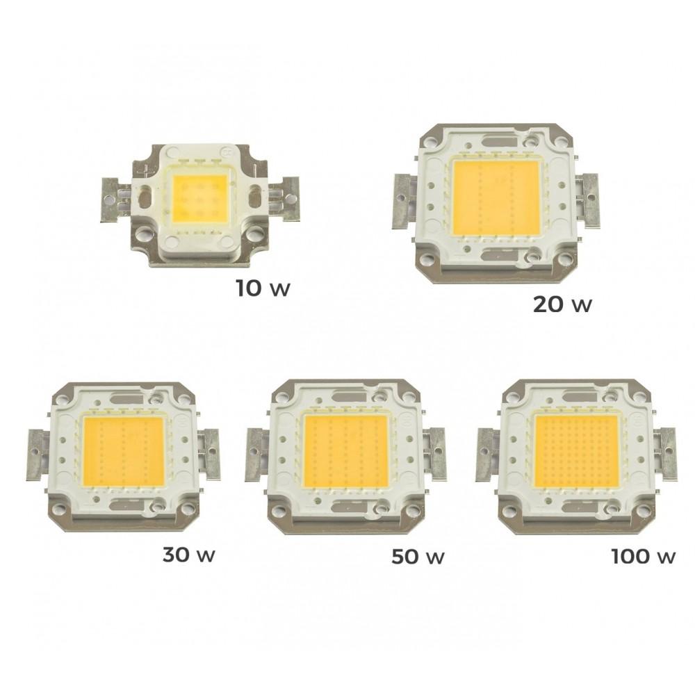 Pack 4 Piastrine Led di ricambio fari led luce CALDA 3000 k da 10-20-30-50 o 100 watt