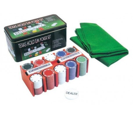 Set poker texas hold'em tappeto 200 fiches 2 mazzi