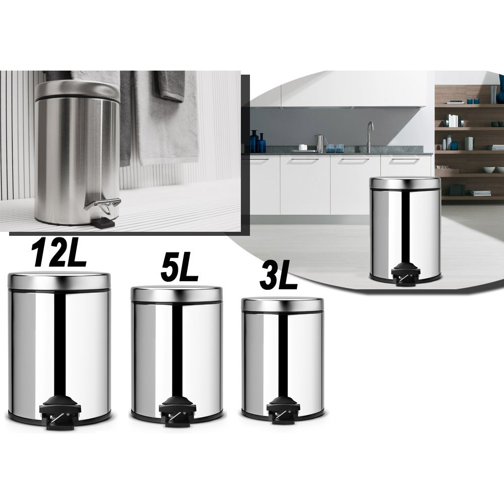 Set 3 pattumiere multiuso alluminio 3 - 5 - 12 LT bidone rifiuti