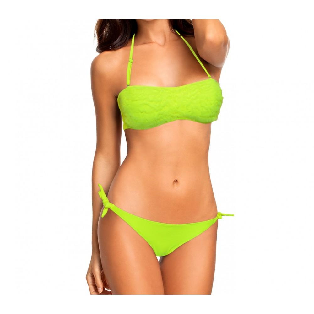 KL207 Costume bikini a fascia mod. Audrey con ruches in chiffon